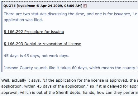 Forum discussion about concealed handgun license application procedures