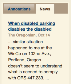 Disabled parking article