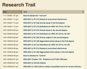 The full research trail displayed in a table